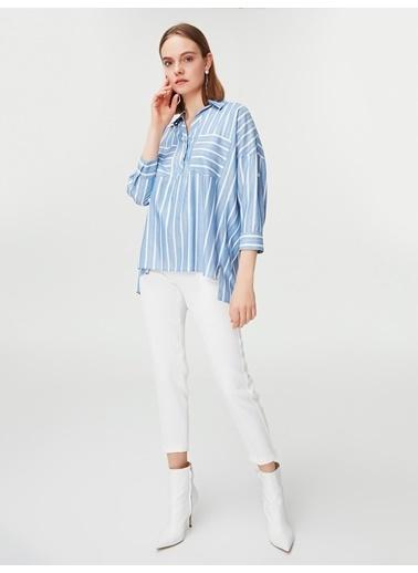 Ipekyol Çizgili Gömlek Bluz Mavi